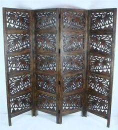 4 panel carved heavy duty indian wooden elephant screen room divider 180x203cm elefant zimmer buroteiler