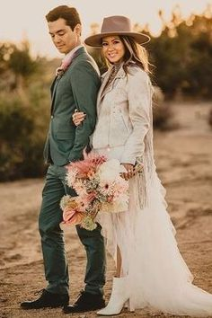 Romantic dessert wedding photo of a modern bride and groom with bohemian flair | Joshua Tree Elopement During COVID, But Make It Fashion - Love Inc. Mag - JASON THOMAS CROCKER PHOTOGRAPHY