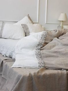 Pure linen bedding set with linen lace stonewashed medium