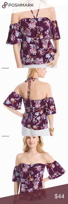 NWOT WHBM Off-the-shoulder Floral Printed Top 6 NWOT White House Black Market Off-the-shoulder Floral Printed Top size small.  Gypsy/White color combo. Plum/Magenta Color.   Wear it during the day with the halter tied in a pretty bow then remove it for a flirty nighttime look. Plus, it's lightweight so it packs like a breeze. Off-the-shoulder gypsy with white floral printed top Removable halter tie Boning; interior bustier at bust Elasticized neckline and sleeves Hidden back zip with…
