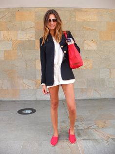 Look at the fab juxtapsoition of classic navy blazer with a romper and Toms. The classics never let us down - they work with EVERYTHING. I can't shout that from the roof tops loud enough! The are like magic glue.