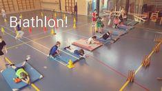 Biathlon in de gymles. Op deze wijze creëer je een bijna echte biathlon parcours waarbij intensief gerend en geschoten wordt. Klik hier voor de uitleg!