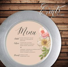 Watercolor Floral Plate 4 / Charger Menu by Eventsbyicandy on Etsy