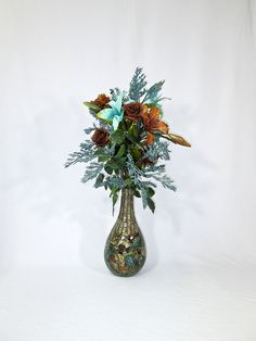 Tall Brown and Turquoise Silk Floral by AlwaysInBloomFloral