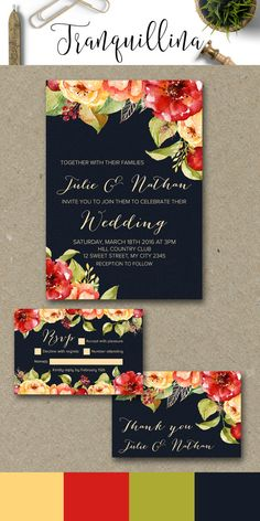 Fall Wedding Invitation, Floral Wedding Invitations, DIY Printable wedding Stationery, wedding ideas, Navy Wedding Invite, Red Yellow and Orange Watercolor Flowers, This invitation suite includes rsvp and thank you card which can be bought separately or as a set. For more info, check the following link: tranquillina.etsy.com