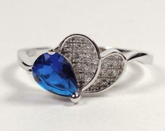 STERLING SILVER NAUTICAL DEEP OCEAN BLUE SEA FAN SOLITAIRE PROMISE RING SIZE 7