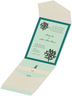 Planning a destination wedding?  Getting married on the beach?  This is the perfect pocket wedding invitation.  Beautiful coral design can be customized with your wedding colors.  Contact The Fancy Envelope for help with your wedding invitations.  We are here to help you!