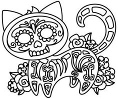 Not so frisky feline * Sugar Skull Cat Pattern * Delightfully Creepy * Macabre H. Nicht so verspie Adult Coloring Pages, Colouring Pages, Coloring Sheets, Coloring Books, Embroidery Stitches, Embroidery Patterns, Hand Embroidery, Embroidery Monogram, Mandala Halloween