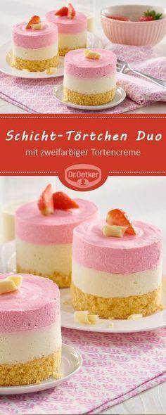 Schicht-Törtchen Duo: Biskuittörtchen mit zweifarbiger Tortencreme