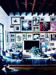 crowded gallery wall