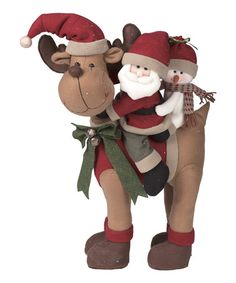 This Plush Santa on Moose Decoration is perfect! #zulilyfinds