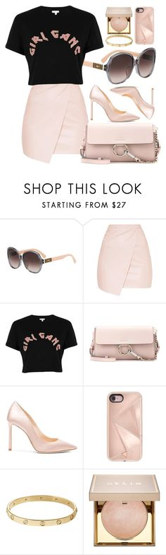 """Girl Gang"" by smartbuyglasses ❤ liked on Polyvore featuring Fendi, River Island, Chloé, Jimmy Choo, Rebecca Minkoff, Cartier, Stila and Pink"