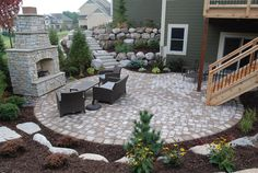 Walkout Basement Patio Deck Stairs Ideas - Home Plans & Blueprints Backyard Patio Designs, Yard Design, Backyard Landscaping, Backyard Ideas, Backyard Seating, Patio Ideas On A Hill, Landscaping Ideas, Stone Patio Designs, Pool Backyard