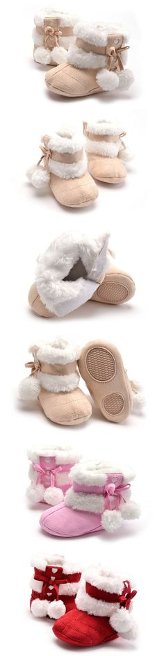 2016 New Winter Baby Girl Shoes Infant Thicken Boots First Walkers Newborn Baby Shoes WX060 $12.09
