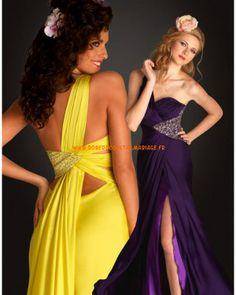 Belle robe Jaune raisin asymétrique mousseline robe de soirée 2013