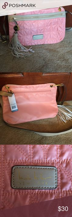 Nicole Miller new shoulder bag (pink) New with tags on. Pink Nicole Miller bag with tan details and tan long shoulder strap. Opens on the side and has brown snake skin interior. Nicole Miller Bags Crossbody Bags