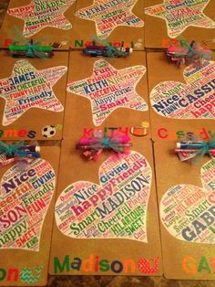 #graduation End of Year Student gifts I made my kids. Word cloud + mod podge + clipboards from Dollar Tree. Turned out super cute and the kids loved them for when we signed autographs in year books.