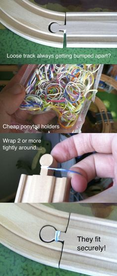 How to make wooden train tracks fit securely together -- use cheap plastic ponytail bands! Work for Thomas, Circo, Imaginarium. any track type! Train Table, Model Train Layouts, Thomas The Train, Toy Rooms, Classic Toys, Model Trains, Toy Trains, Toddler Activities, Legos