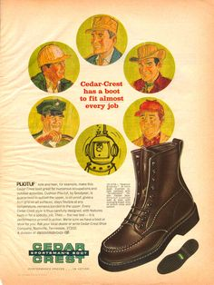 Vintage Ad for Cedar Crest Boots, a small company out of TN that made boots that looked a lot like Red WIngs.
