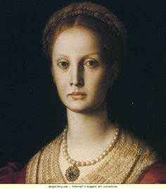 Agnolo Bronzino. Portrait of Lucrezia Panciatichi. Detail. c 1541. Oil on panel. 102 x 85 cm. Galleria degli Uffizi, Florence, Italy.