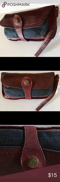 VINTAGE LUCKY LEATHER & DENIM CLUTCH ORIG. NICE VINTAGE LUCKY LEATHER & DENIM CLUTCH ORIG. NICE . Open main pocket has little pocket. FRONT DENIM POUCH OVER WALLET FEATURE. STRONG BROWN CLOTH LINING. Vintage Bags