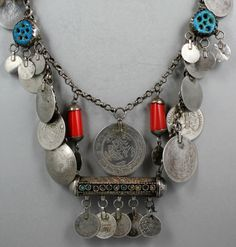 Amulets and Coin Necklace.  From somewhere in the Levant, suggested as Iraqi Kurdistan.