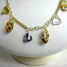 18Kt yellow gold with amethyst, lemon quartz, pink quartz and smoky quartz necklace.  Size: 44cm  Made in Italy  www.gioiechic.com