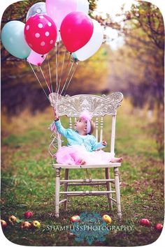 Balloon, chair, field, baby, girl