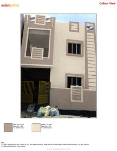 Neutral tones for its modesty! House Painting Colour Combinations, Wall Paint Colour Combination, Exterior House Colors Combinations, Paint Colors For Home, Exterior Colors, Grey Exterior, Asian Paints Colour Shades, Asian Paints Colours, Paint Shades