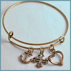 Antique Gold Bracelet Inspired by Alex & Ani Faith by Arrimage, faith hope love, cross, anchor, heart