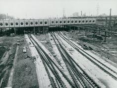 A Kőbánya-Kispest MÁV-METRO állomás építése 1979 Budapest, Metroid, Railroad Tracks, Hungary