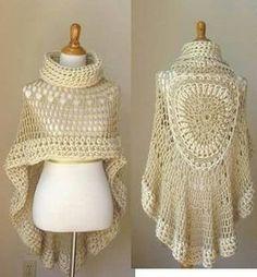 Tina's handicraft : poncho - Love Crochet Poncho Au Crochet, Crochet Poncho Patterns, Love Crochet, Beautiful Crochet, Crochet Stitches, Knit Crochet, Poncho Scarf, Irish Crochet, Crochet Capas