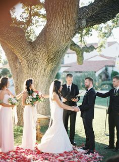 #rose-petals, #tree, #pink, #blush  Photography: Rylee Hitchner Photography - www.ryleehitchner.com  Read More: http://www.stylemepretty.com/2015/04/30/colorful-ojai-outdoor-wedding/