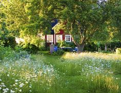"""to the classic perfect lawn"""" Typical Scandinavian Summer Cottage GardenTypical Scandinavian Summer Cottage Garden Swedish Cottage, Red Cottage, Swedish House, Garden Cottage, Home And Garden, Summer Garden, Winter Garden, Meadow Garden, Dream Garden"""