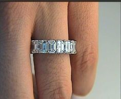 wedding band eternity emerald - Google Search