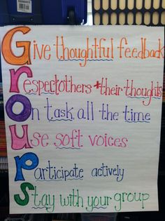 I enjoyed how the word fit a certain aspect of the classroom, in this case group work. Group work is evident in classrooms and with expectations for this specific area it will allow for extreme clarity. Classroom Behavior, Classroom Posters, School Classroom, School Fun, Classroom Ideas, Middle School, School Ideas, Classroom Rules, Future Classroom