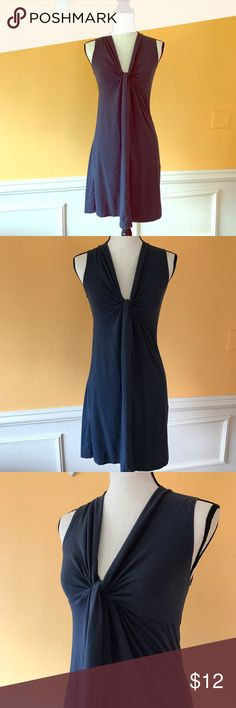 """J. Crew Navy Empire Waisted Knotted V-Neck Sz XS J. Crew Navy empire waisted knot v Neck shift dress. Size XS. No flaws. 57% cotton, 38% modal rayon, 5% spandex. Measurements: under am to dress bottom 27"""", underarm to underarm 14"""", shoulder to dress bottom 32.5"""". Machine wash cold. J. Crew Dresses Mini"""