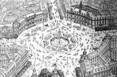 Diseño de la primera glorieta urbana del mundo Grands Boulevards París, por E. Hénard. No se llegó a ejecutar.