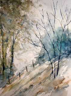 Woods Landscape, Print of Original Watercolor Painting matted and ready to frame watercolor art watercolor print Watercolor Trees, Watercolor Landscape, Watercolor And Ink, Watercolor Paintings, Watercolours, Landscape Artwork, Landscape Prints, Wooded Landscaping, Woodland Art