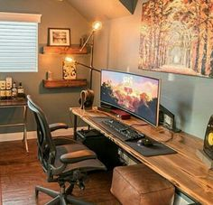 For Two Home Office Design Ideas. Hence, the requirement for house offices.Whether you are planning on adding a home office or refurbishing an old room right into one, below are some brilliant home office design ideas to assist you begin. Home Office Setup, Home Office Design, House Design, Office Style, Office Ideas, Game Room Design, Playroom Design, Diy Computer Desk, Computer Tables
