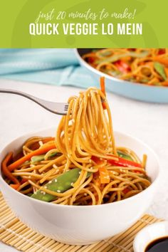 Quick Veggie Lo Mein Takeout has nothing on this Quick Veggie Lo Mein! Make this Chinese restaurant staple in just 20 minutes with whole grain noodles and tender-crisp veggies in a sweet/savory/gingery sauce.
