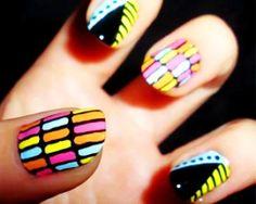 I so want this on my nails! :) nails 30 Beautiful and Unique Nail Art Designs Crazy Nails, Fancy Nails, Love Nails, Pretty Nails, Neon Nail Art, Neon Nails, Tribal Nails, Nails Opi, Diy Nails