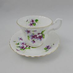 Royal Albert Tea Cup and Saucer with Purple Flowers Violets