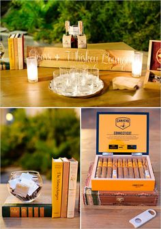 Cigars and whiskey lounge at wedding reception. Event Design: Gillian Shennon Event Productions --- www. Wedding Spot, Our Wedding Day, Wedding Stage, Wedding Reception, Rustic Wedding, Dream Wedding, Whiskey Lounge, Event Planning, Wedding Planning