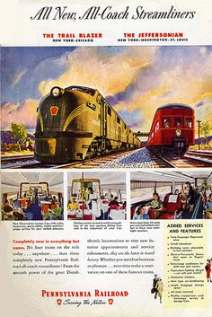 1949 Pennsylvania Railroad ad for Streamliner diesels