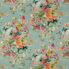 Covington Macbeth 513 Eggshell Blue Floral Fabric | 1502 Fabrics