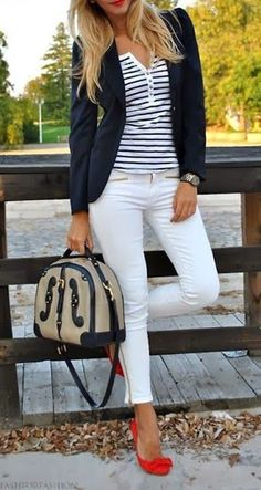 Love the white jeans with striped shirt and blazer. The 'pop of color' in the shoes is great. Love stripes.