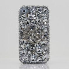 glam glam Swarovski Diamond Silver Crown Crystal Bling Case