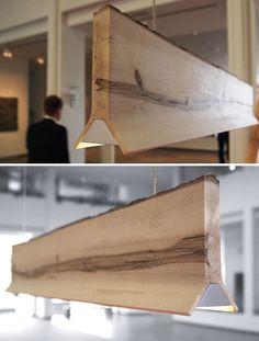 Natural wood lamp by Sverre Uhnger