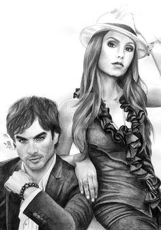 Nina Dobrev and Ian Somerhalder by Mim78.deviantart.com on @DeviantArt
